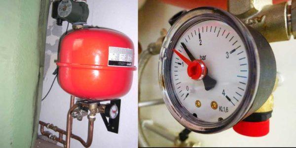 Давление в системе отопления частного дома создается и стабилизируется при помощи мембранного расширительного бака, контролируется манометром
