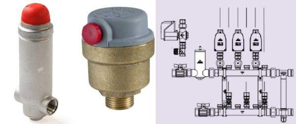 Для удаления воздуха из трубы (на протяженном участке) можно установить линейный дегазатор. На рисунке пример использования перед гребенкой отопления