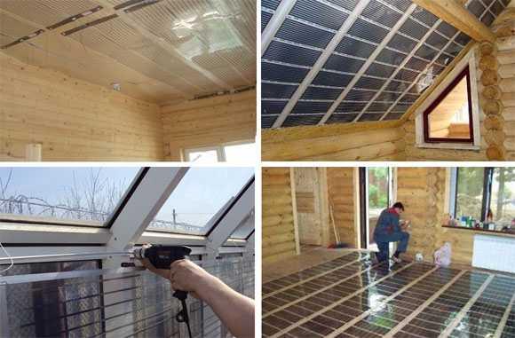 Инфракрасная пленка может быть прикреплена на стены, пол, потолок... даже на колонны