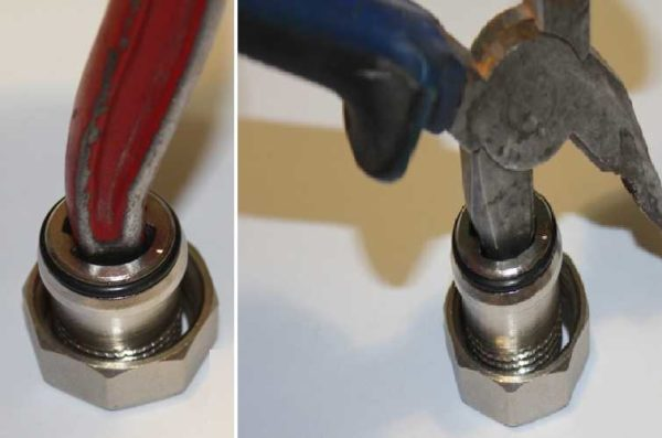 С подручным инструментом надо быть аккуратным, иначе можно повредить фитинг