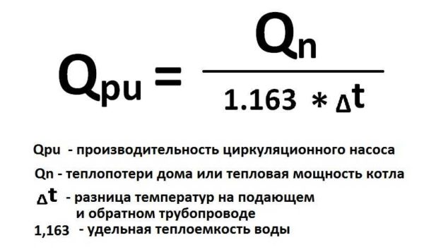 Формула расчета производительности циркуляционного насоса для отопления частного дома