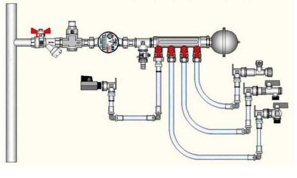Компенсатор гидроударов устанавливается вблизи от потребителей или на гребенке