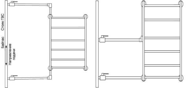 Варианты бокового подключения водяного полотенцесушителя