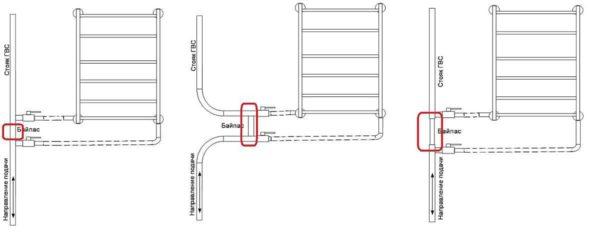 Рабочая схема подключения полотенцесушителя с нижним расположением отводов