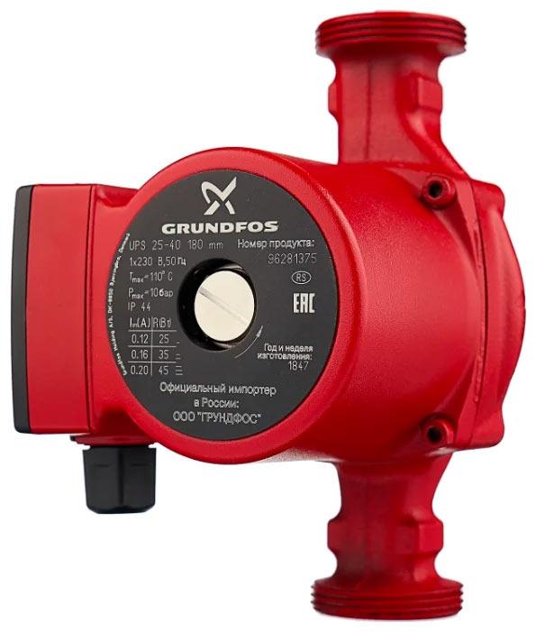 Циркуляционный насос Grundfos UPS 25-40 180 (45 Вт) - эта модель пользуется большой популярностью. Владельцы отмечают следующие достоинства: качество сборки, низкий уровень шума, надежность и долговечность